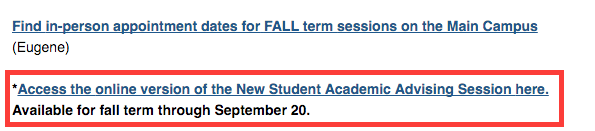 online new student academic advising session
